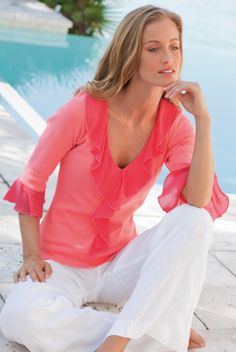 Barbara Top - Ruffle Top, V-neckline, Cotton | Soft Surroundings