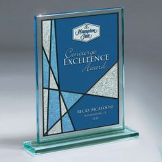 Love the design on this piece! GI565 — Blue Frost Capaci Imprint on Rectangular Jade Glass : Pacesetter Awards -- Acrylic and Glass Awards, Plaques, Gifts and More