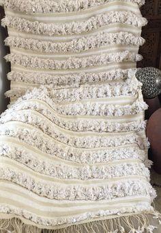 Viintage Moroccan Wedding Blanket Handira Sequinned Glittery Blanket.