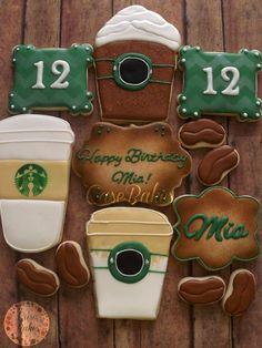 18 Birthday, Birthday Party Design, Birthday Cookies, Fancy Cookies, Cute Cookies, Royal Icing Cookies, Starbucks Cakes, Starbucks Mugs, Starbucks Birthday Party
