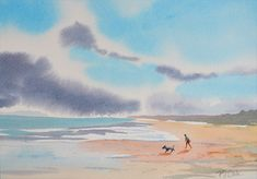 Watercolor painting for sale! Features man and dog walking on a blustery beach with great clouds and ocean. Original Landscape painting beach scene by PJ Cook.