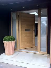 contemporary oak double front doors - solid door with side panels Oak Front Door, Front Door Porch, Double Front Doors, Wooden Front Doors, Front Door Entrance, Front Door Design, Glass Front Door, House Front, Solid Doors