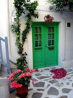Green door in Greek Islands