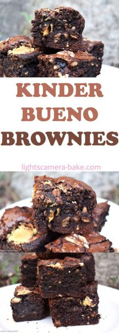 Kinder Bueno Brownies Kinder Bueno Brownies are rich dark chocolate fudgy brownies filled with chocolate chips hazelnuts and Kinder Buenos! The post Kinder Bueno Brownies appeared first on Kinder ideen. Brownie Recipes, Cake Recipes, Dessert Recipes, Melting Chocolate Chips, Chocolate Flavors, Food Cakes, Kinder Bueno Recipes, No Bake Desserts, Baking Desserts