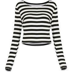 Yoins Stripe Cropped Top-Black/White  S/M/L/XL ($15) ❤ liked on Polyvore featuring tops, yoins, shirts, sweaters, black, camisoles & tank tops, striped crop top, black and white striped shirt, black crop top and black shirt