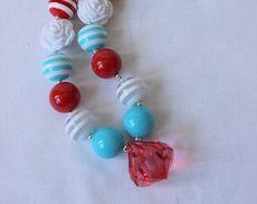 girls chunky bubblegum bead necklace aqua red white bead necklace girl summer chunky bead necklace birthday dr seuss cat in the hat birthday