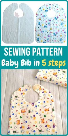 Learn how to sew a baby bib in just 5 easy steps with this sewing project. This is a baby bib sewing pattern, which can be tried by any beginner seamstress. Easy Baby Sewing Patterns, Baby Sewing Tutorials, Baby Clothes Patterns, Baby Sewing Projects, Sewing Hacks, Dress Patterns, Dress Tutorials, Coat Patterns, Crafty Projects