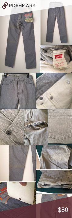 VINTAGE NEW LEVIS JEANS BUTTON FLY size 30X36 J VTG NEW LEVI'S 501 MEN SZ 30X36 STRAIGHT LEG JEANS BUTTON FLY GRAY 501-0631 USA  Never been worn. Tags are still attached. Dusty due to storage. Can be washed. Button fly. Made in USA. Classic 5 pockets. Straight leg. Smoke and pet free. Cotton. Long inseam pants. VTG collectible jeans. See all photos for details. levis Jeans