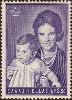 Stamp: Queen with Princess Alexia (Greece) (Greek Kings and Queens) Mi:GR 1037 Postage Stamp Art, Ms Gs, Stamp Collecting, Ephemera, Coins, Queen Anne, Vintage, Queens, Europe