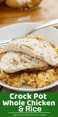 Whole Chicken and Rice in the Slow Cooker Flavored with Onions and Spices! This Crock Pot Chicken and Rice Dinner is a win! You can't Go Wrong with this Meal in the Crock Pot! Chicken And Rice Crockpot, Chicken Rice Recipes, Slow Cooker Chicken, Chicken Meals, Slow Cooked Meals, Crock Pot Slow Cooker, Crock Pot Cooking, Crock Pot Rice, Best Crockpot Recipes