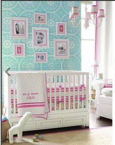 @Vicki Snyder Barn Kids Skylar Crib and Harper/Tera accents. Great color scheme.  nursery | baby room | girls nursery | blue and pink nursery | white crib | medallion wallpaper | white and pink bedding | interior design | interior decorating ideas | diy home