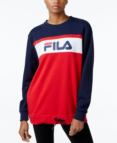 A drawstring at the hem is the perfect punctuation for this comfy colorblocked sweatshirt from Fila. | Cotton/polyester | Machine washable | Imported | Crew neckline | Pullover styling | Long sleeves