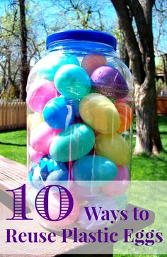 Fun ways to recycle and reuse plastic Easter Eggs -- great ideas for learning, Easter Brunch activity & more!
