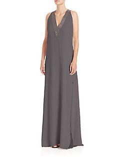 Brunello Cucinelli - Silk V-Neck Gown