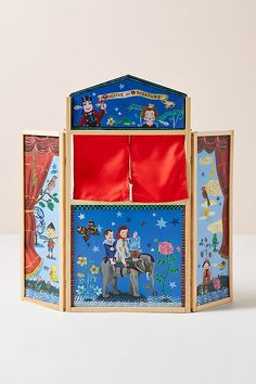 Nathalie Lete Play Theater by in Blue, Kids at Anthropologie play Nathalie Lete Play Theater Cardboard Painting, Cardboard Crafts, Toy Theatre, Theater, Puppet Show, French Art, Childhood Memories, Kids Toys, Anthropologie