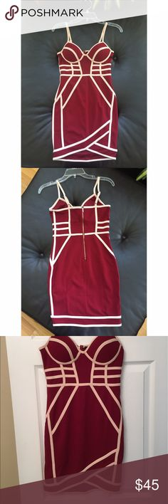 💎 Gorgeous 💎 NWOT Red and Cream Bodycon Dress 💎Never worn !  💎Amazing fitted dress with support in breast area so it can be worn without a bra  💎great for a night out or perfect date night 💋 💎comfortable and classic with a bit of edge  💎Pet-free seller Dresses Mini