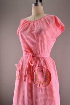 1960s cotton wrap dress 50s gingham dress Size by melsvanity, $58.00