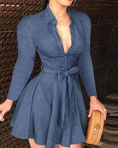 Vestidos Vintage, Mini Vestidos, Vintage Dresses, Mini Shirt Dress, Long Sleeve Mini Dress, Button Dress, Fall Dresses, Short Dresses, Party Dresses