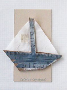 Cardboard art, SAILBOAT, by Colette Copeland