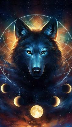 Mystical Wolf And Moon Wallpaper