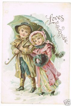 Sharing an umbrella in the snow, boy and girl,