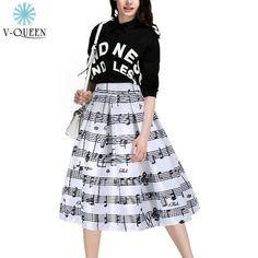2015 Fashion Piano Music Note Melody Print Midi Skirt Fluffy Flared Pleated High Waist Autumn Women Girl's Tutu Saias A1506011