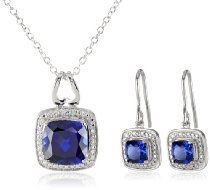 Sterling Silver Created Sapphire Earrings and Pendant Necklace Jewelry Set