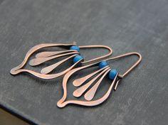 Lotus petal and fringe swing hoop earrings in by Keepandcherish