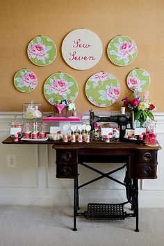 Vintage sewing birthday party via Kara's Party Ideas karaspartyideas.com #sewing #vintage #girl #party #idea