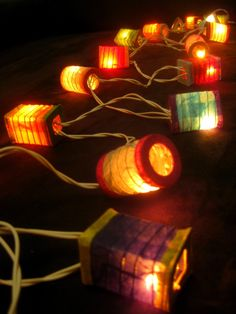 20 Multicoloured Battery Operated Mini Chinese LED String Paper Lanterns Lights | eBay
