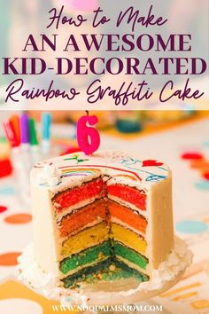 Most people prefer to just purchase ready-to-eat cakes—but not everyone. Some do still prefer to search online for products and recipes they can use to make their own cakes. One of the best party ideas you can pull off at your kids' birthday party is giving them a rainbow graffiti cake which your birthday celebrant can decorate themselves. Check out this awesome and fun tutorial on how to make this unique and delicious cake for your little one! #cake #desserts #partyideas