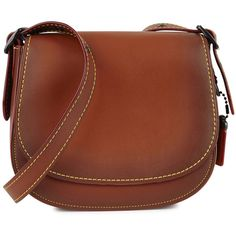 Coach 1941 23 brown leather saddle bag ($460) ❤ liked on Polyvore featuring bags, handbags, shoulder bags, leather shoulder handbags, leather shoulder bag, brown purse, leather purses and brown handbags
