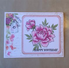 Verjaardagskaart gemaakt met de Altenew peony bouquet stempelset.