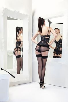 #lingerie #boudoir #lace #sheer # black #stocking #bustier #sexy #darkhaired #ponytail
