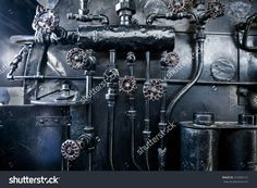 Steam Punk Black Old Metal Background. Background Of Engine Room Detail Of A Steam Locomotive Fotka: 316945127 : Shutterstock
