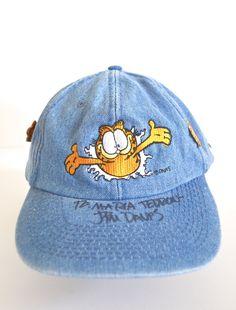 Vintage Garfield dad hat, Jim Davis autograph baseball cap, 1990s denim hat, Garfield pins, vintage enamel pins by JoyDestroyVintage on Etsy