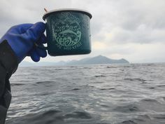 Wild & Free in the Bering Sea! Enamel mugs great for coffee breaks on the backdeck sea creature collections and  a handy bait scoop.  #aksalmonsisters #wildandfree #enamelmug #designedinalaska #wildwest #longline #beringsea #trustthewild #boatlife #commercialfishing #alaskalove