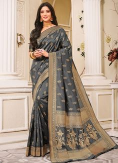 Weaving Silk Grey Trendy Saree
