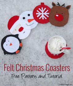 The best DIY projects & DIY ideas and tutorials: sewing, paper craft, DIY. DIY Gifts & Wrap Ideas 2017 / 2018 Felt Christmas Coasters - Free Pattern and Tutorial -Read Christmas Coasters, Felt Christmas Ornaments, Noel Christmas, Christmas Crafts For Kids, Homemade Christmas, Christmas Projects, Felt Crafts, Holiday Crafts, Holiday Fun