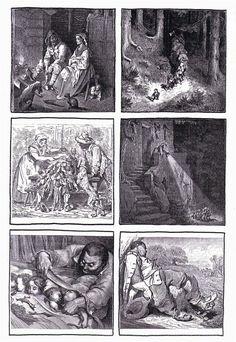 6 images séquentielles du Petit Poucet de Charles Perrault, illustrations de Gustave Doré                                                                                                                                                                                 Plus