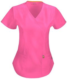 Bliss w/ Certainty Mock Wrap Top in Shocking Pink Cherokee Uniforms, Staff Uniforms, Medical Uniforms, Greys Anatomy Shirts, Moda Chic, Princess Seam, Work Wear, Going Out, Tunic Tops