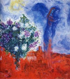 Lovers over sant paul 1970 - by Marc Chagall