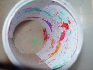 Shake and paint! Here's a way to create neat paintings using a large empty oatmeal container with a piece of white paper taped inside.  Dip broken crayons in a small amount of paint. Put them inside the container and then put the lid back on. Now let your kids take the container and shake it, roll it on the floor, pass it around to move the crayons inside. Then uncover and remove your surprise work of art!