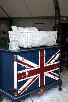 Union Jack plastered proudly on a dresser!- photo by @hereinthishouse #brimfield
