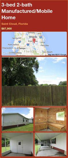 3-bed 2-bath Manufactured/Mobile Home in Saint Cloud, Florida ►$87,900 #PropertyForSale #RealEstate #Florida http://florida-magic.com/properties/91767-manufactured-mobile-home-for-sale-in-saint-cloud-florida-with-3-bedroom-2-bathroom
