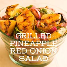 Recipe of the Day!> Grilled Pineapple Red Onion Salad> It's amazing how much savoury flavour your grill can add! #HalfYourPlate
