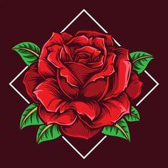 Traditional Tattoo Inspiration, Cartoon Rose, Rose Illustration, Colored Pencil Techniques, Flower Phone Wallpaper, Desenho Tattoo, Rose Art, Rose Design, Flower Art