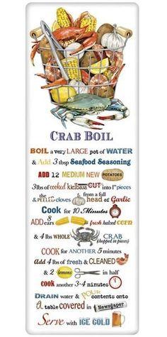Crab Boil Recipe 100% Cotton Flour Sack Dish Towel Tea Towel