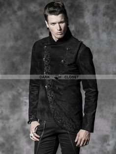 Punk Rave Alternative Black Gothic Asymmetric Jacket for Men