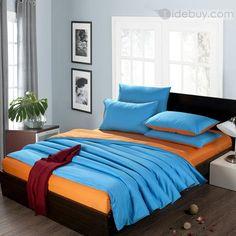 2色(ブルーとオレンジ)ソリッドコットン4ピースクィーン/キングサイズ羽毛布団カバー